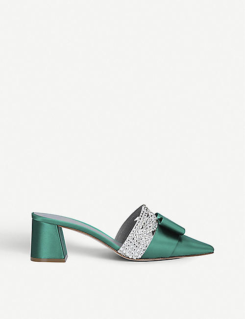 GINA Chachki satin and Swarovski heeled mules