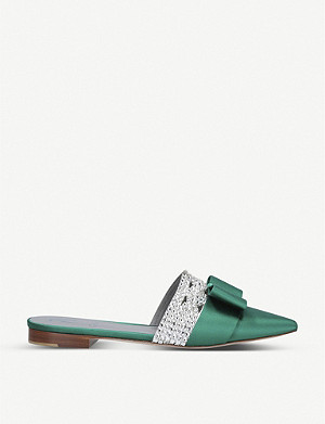 GINA Katerina satin and Swarovski diamante mules