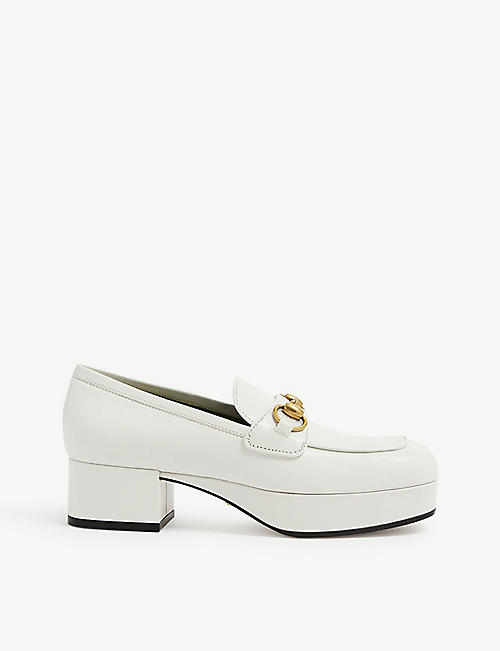 GUCCI: Houdan horsebit leather platform loafers
