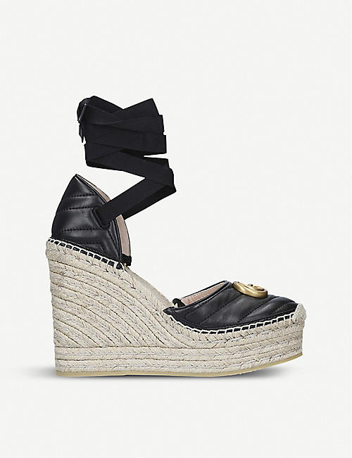 6274798099d GUCCI Palmyra leather and espadrille wedge sandals
