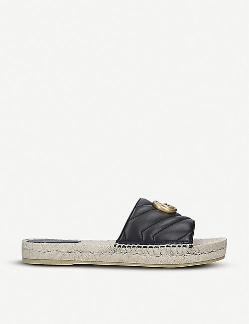 GUCCI: Pilar leather espadrille sliders