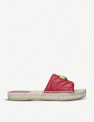 GUCCI Pilar leather espadrille sliders