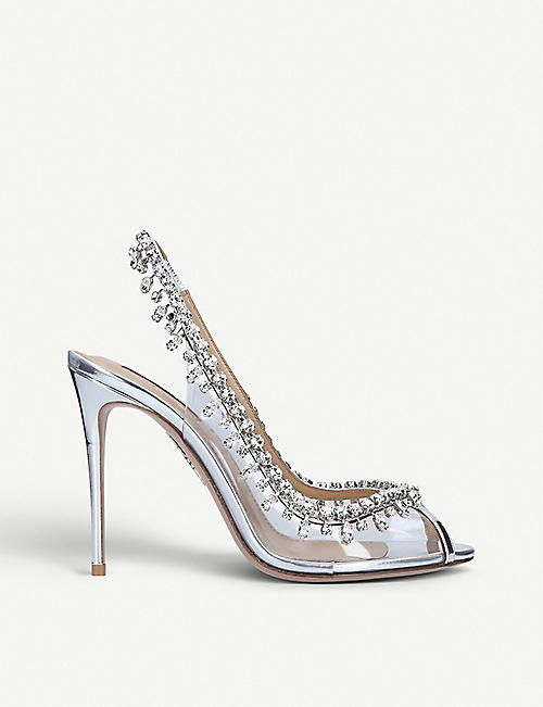 AQUAZZURA: Temptation crystal embellished leather and PVC sandals