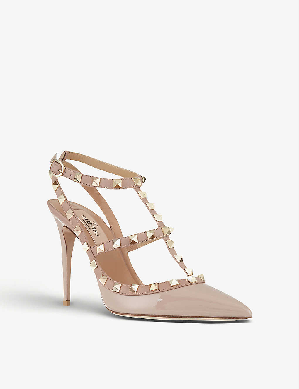 b88c405eefe ... Rockstud patent leather heels - Nude ...