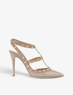 Rockstud patent leather heels - Nude