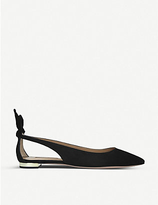 AQUAZZURA: Deneuve suede ballet pumps