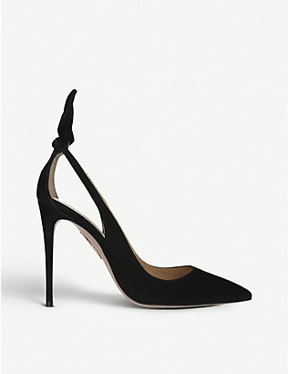 AQUAZZURA: Deneuve suede heeled pumps