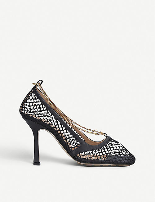 BOTTEGA VENETA: Chain-embellished leather and mesh heeled courts
