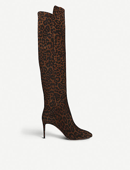 AQUAZZURA Gainsbourg 85 leopard-print suede knee-high boots