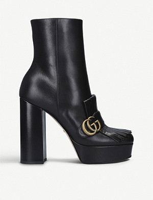 GUCCI Marmont fringed leather ankle boots