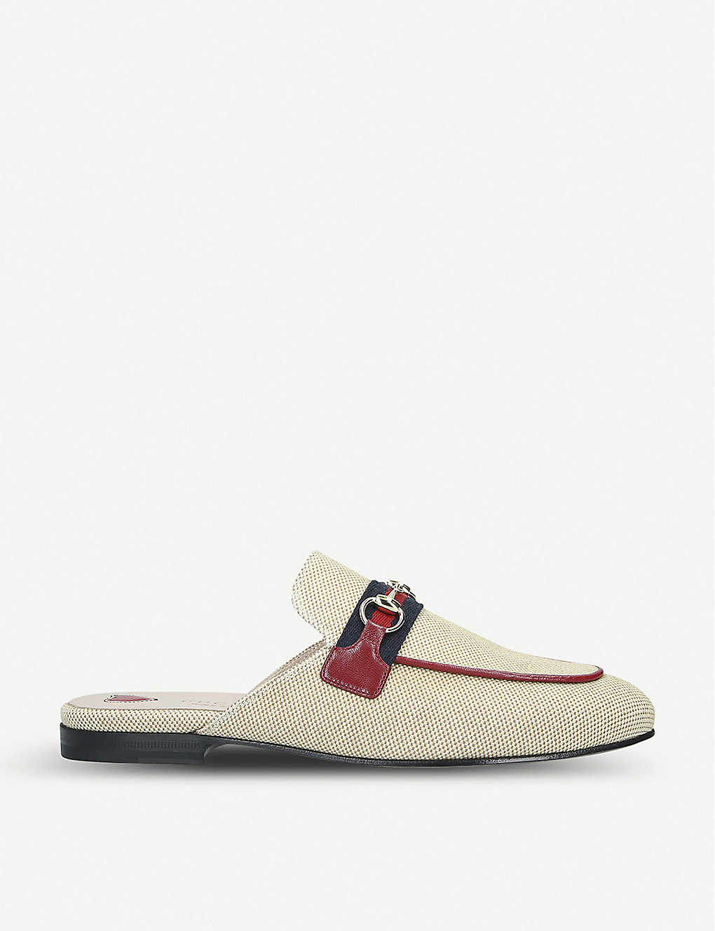 Gucci Mules Princetown web stripe canvas slippers