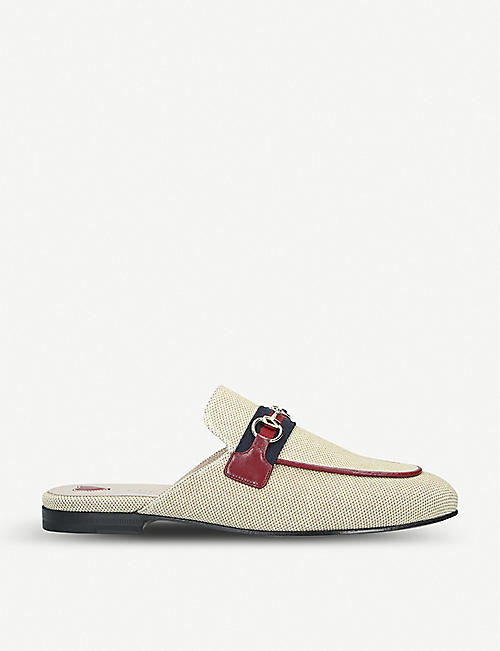 GUCCI Princetown web stripe canvas slippers