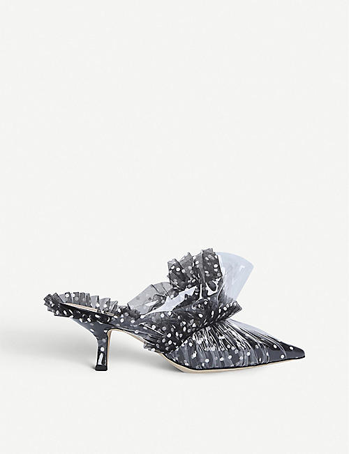 MIDNIGHT Antoinette polka-dot tulle and PVC mules