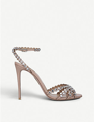 AQUAZZURA: Tequila 105 gem-embossed leather heeled sandals