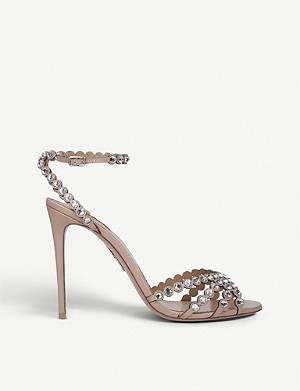 AQUAZZURA Tequila 105 gem-embossed leather heeled sandals