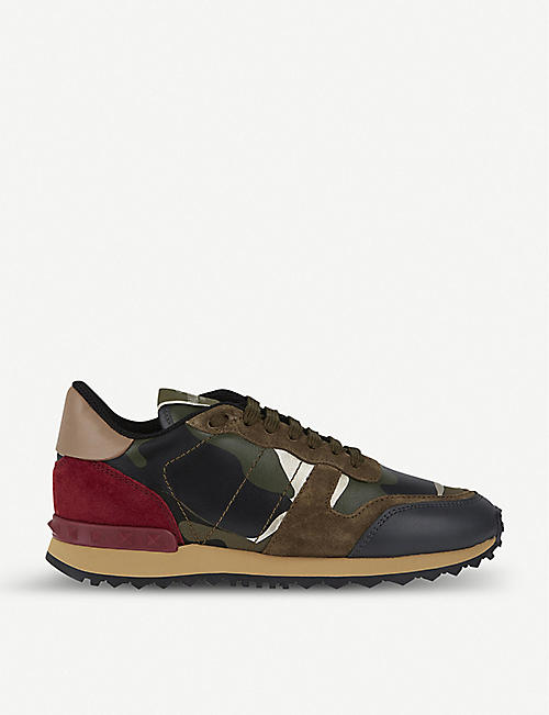 d5a9b580504 VALENTINO Camouflage-print leather trainers