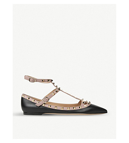 Valentino Leathers WOMEN'S BLACK AND BEIGE ROCKSTUD LEATHER BALLET FLATS