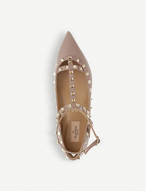 VALENTINO Rockstud leather pointed toe flats