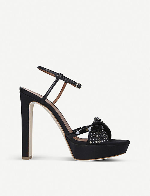 MALONE SOULIERS: Lauren crystal-embellished satin sandals