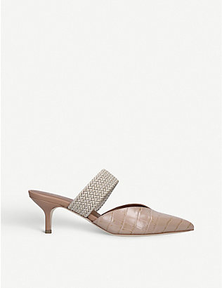 MALONE SOULIERS: Maisie 45 cord-trimmed croc-effect leather heeled mules