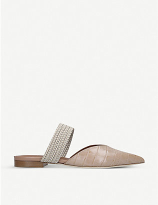 MALONE SOULIERS: Maisie cord-trimmed croc-effect leather mules