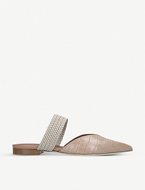 MALONE SOULIERS Maisie cord-trimmed croc-effect leather mules