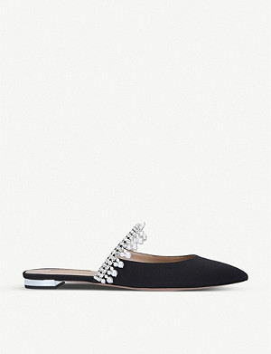AQUAZZURA Exquisite crystal and faux pearl-embellished flats