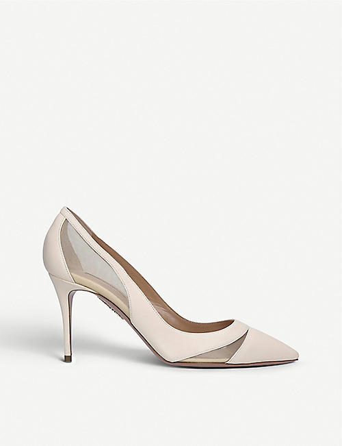AQUAZZURA Savoy leather and mesh courts