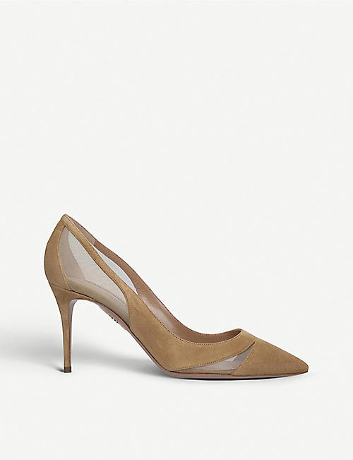 AQUAZZURA Savoy suede and mesh courts