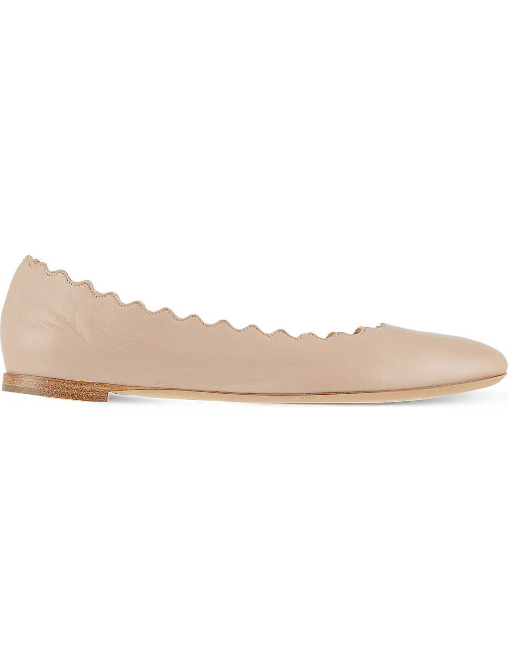CHLOE: Scallop leather ballet flats