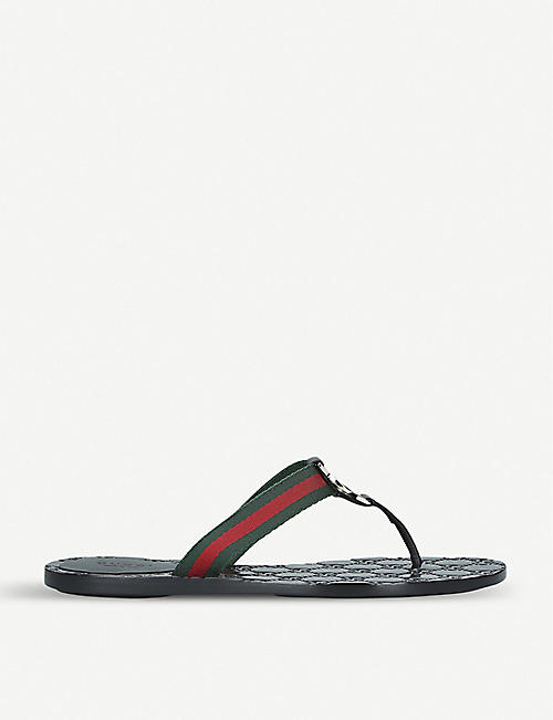 GUCCI Embellished patent-leather flat sandals