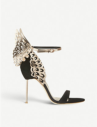SOPHIA WEBSTER: Evangeline winged suede heeled sandals