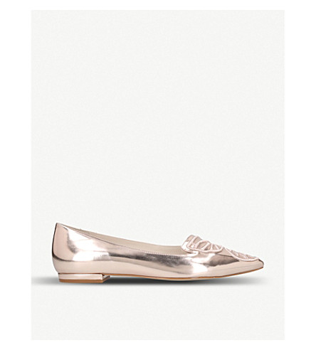 d3db24443bfd SOPHIA WEBSTER Bibi Butterfly embroidered metallic leather pointed-toe flats  (Bronze