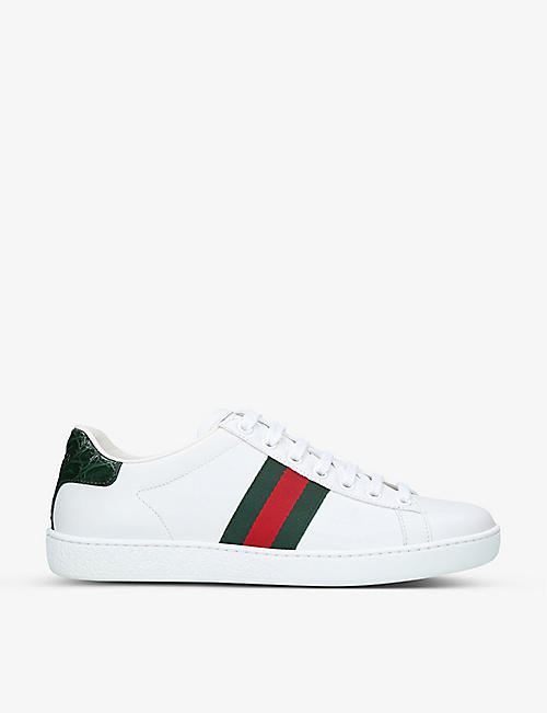 GUCCI New Ace leather and crocodile trainers