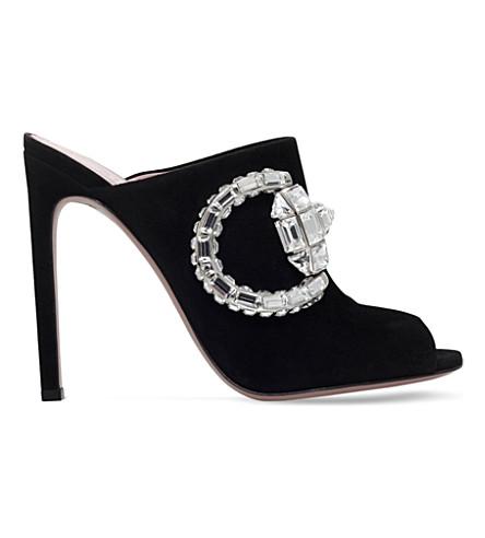 a283951fc67 GUCCI Maxime suede heeled mule sandals (Black