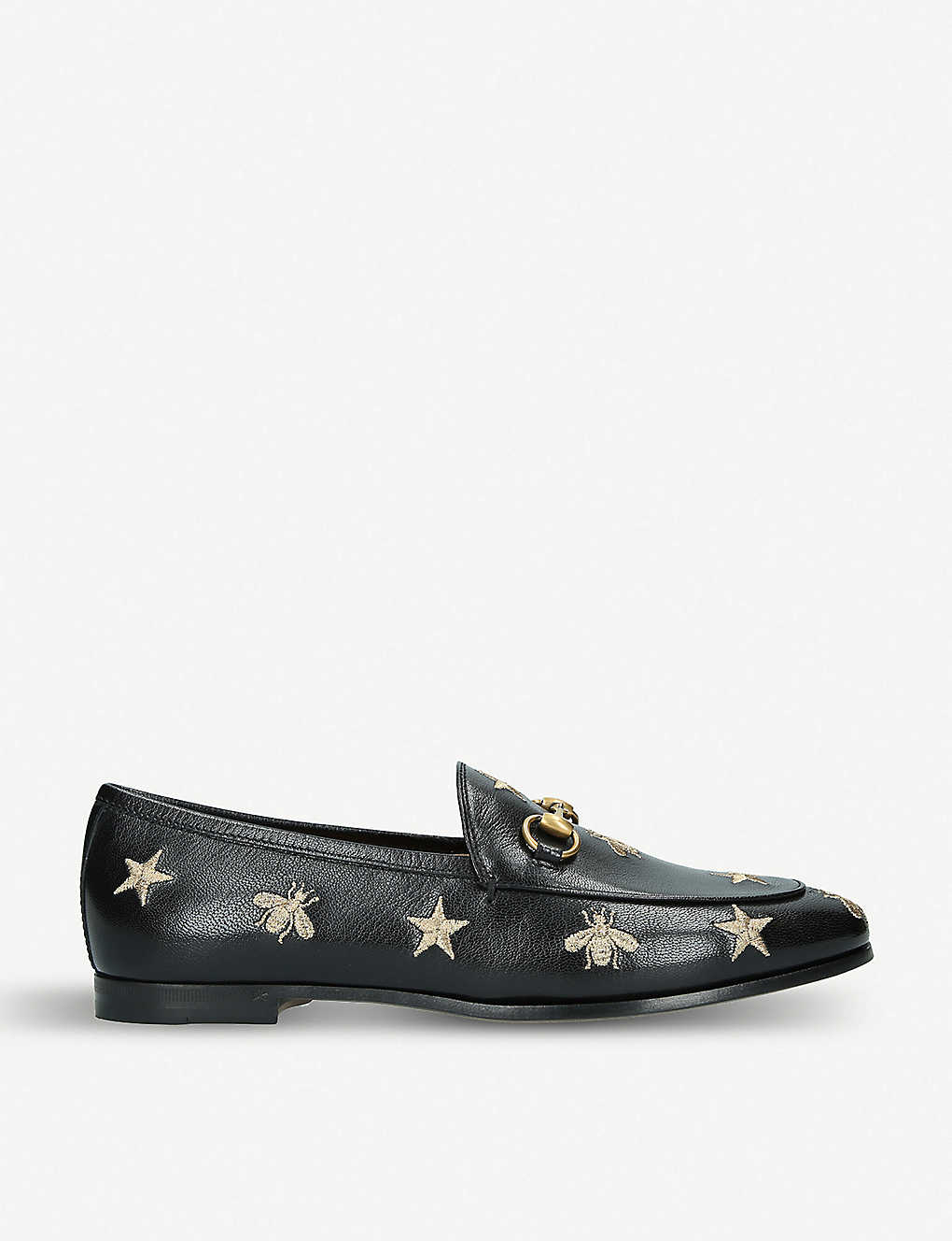 GUCCI: Jordaan embroidered leather loafers