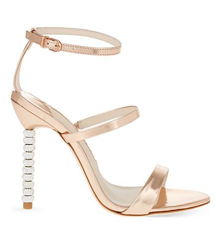 9b5a1e344f3 Sophia Webster Rosalind Metallic Leather Sandals With Embellished Heels In  Rose-Gold