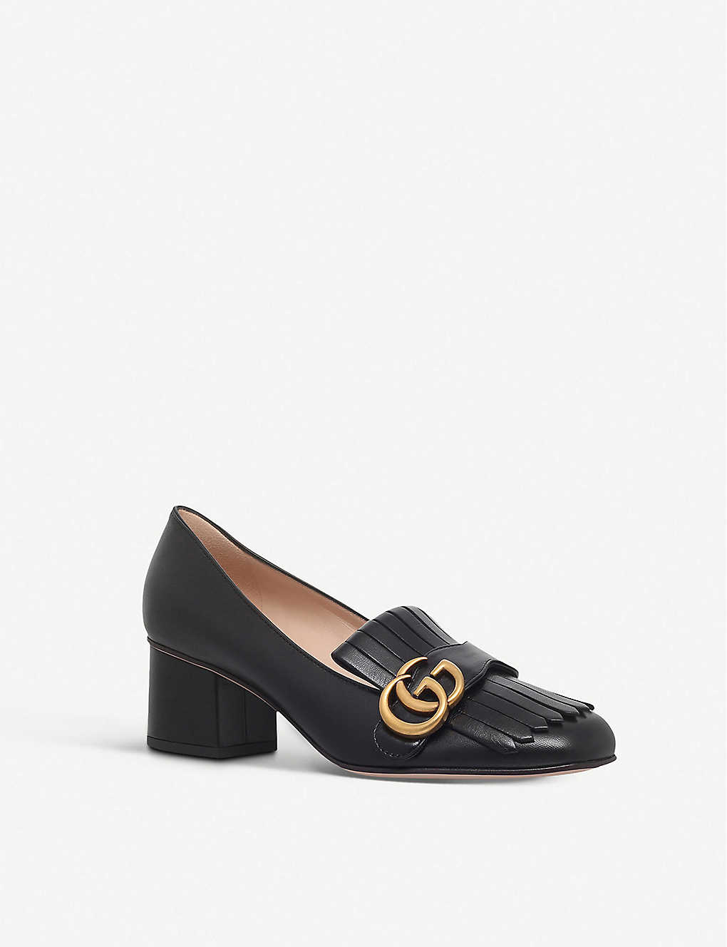37111a65c ... Marmont 55 leather mid-heel loafers - Black ...