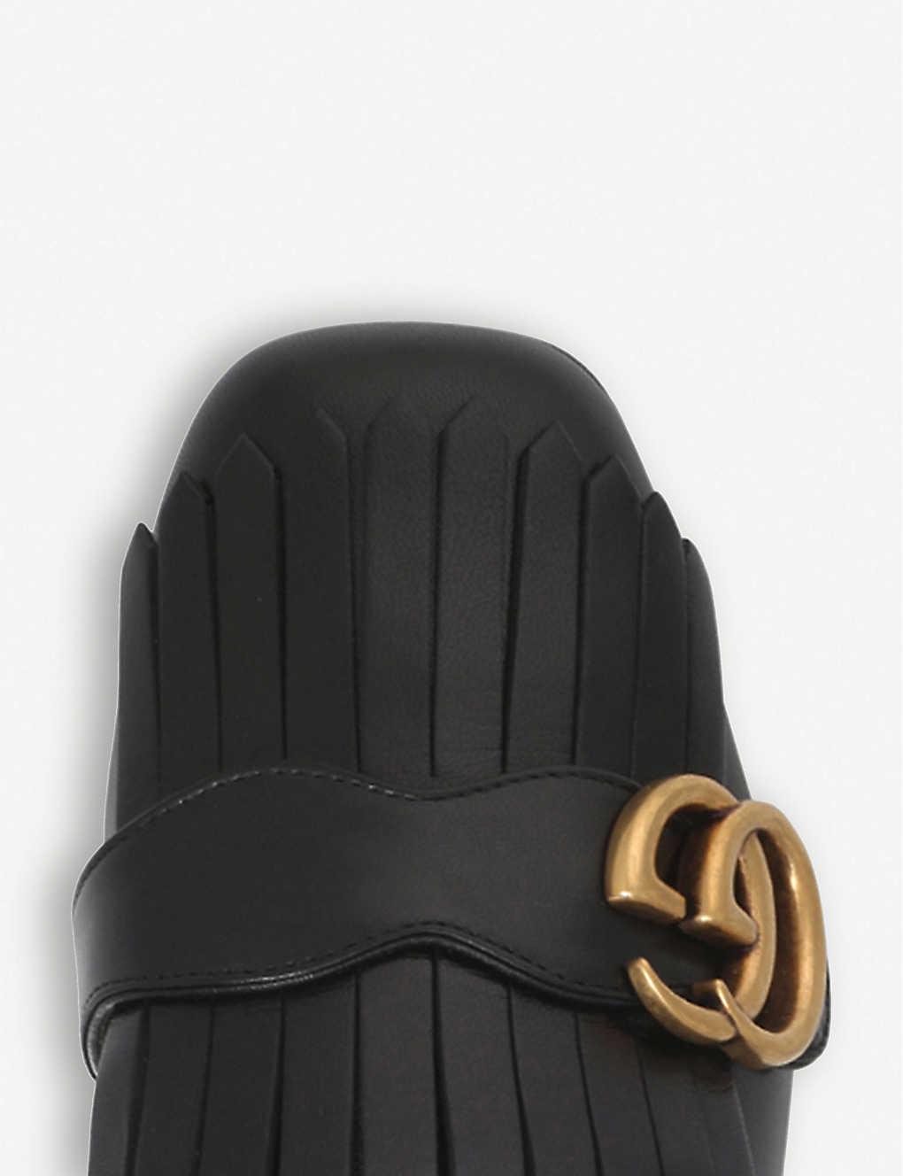 b9602df75 ... Marmont 55 leather mid-heel loafers - Black