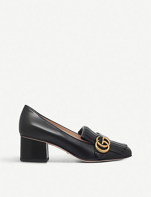 GUCCI Marmont 55 leather mid-heel loafers 21effcb7bab6