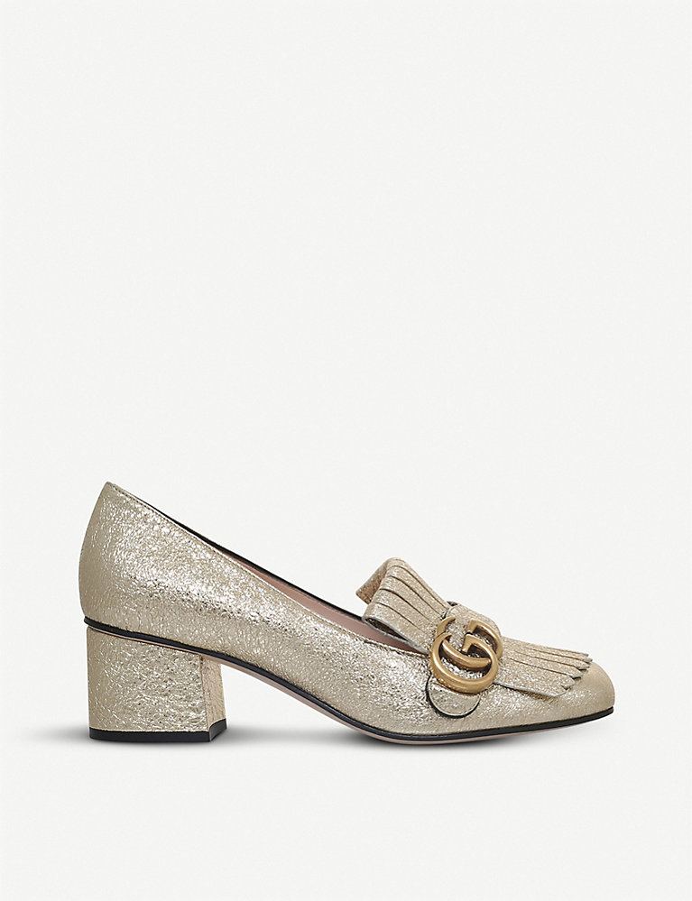 551a8f15462 GUCCI - Marmont 55 metallic-leather loafers | Selfridges.com