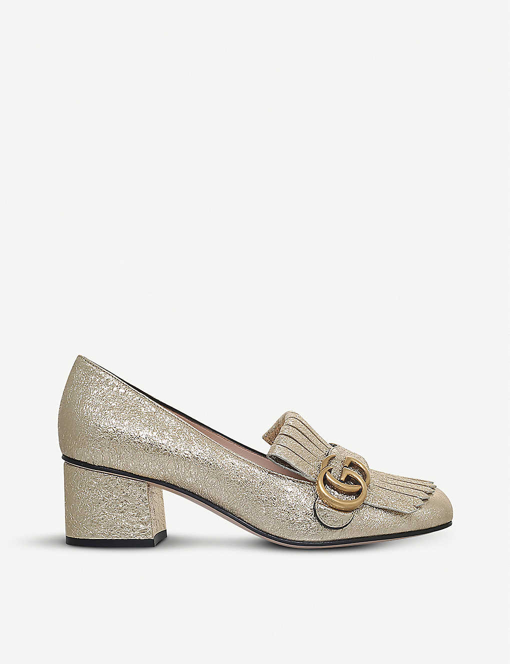 9bfd97ef9 Marmont 55 metallic-leather loafers - Gold ...