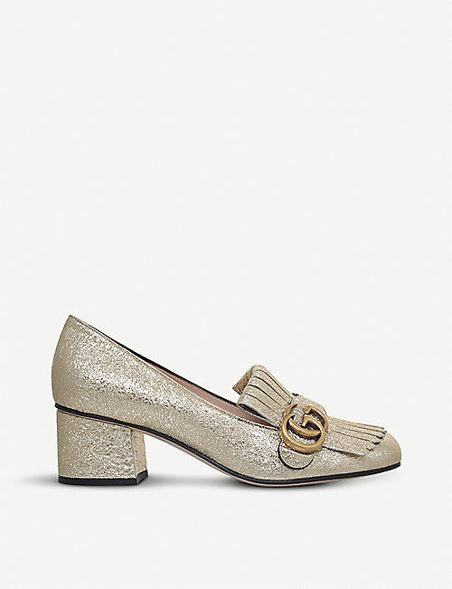 7a3856044 GUCCI - Marmont 55 metallic-leather loafers