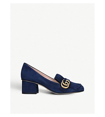950a14f5803 GUCCI Marmont fringed suede loafers (Blue