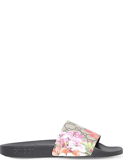 GUCCI: Pursuit floral-print leather sliders