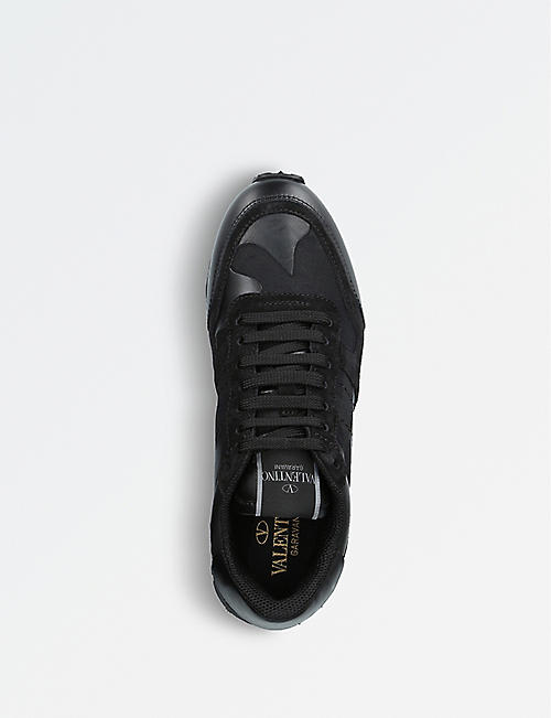 VALENTINO Camouflage-print leather trainers