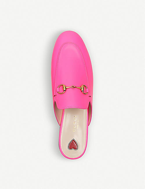 GUCCI Princetown fluorescent-leather slippers