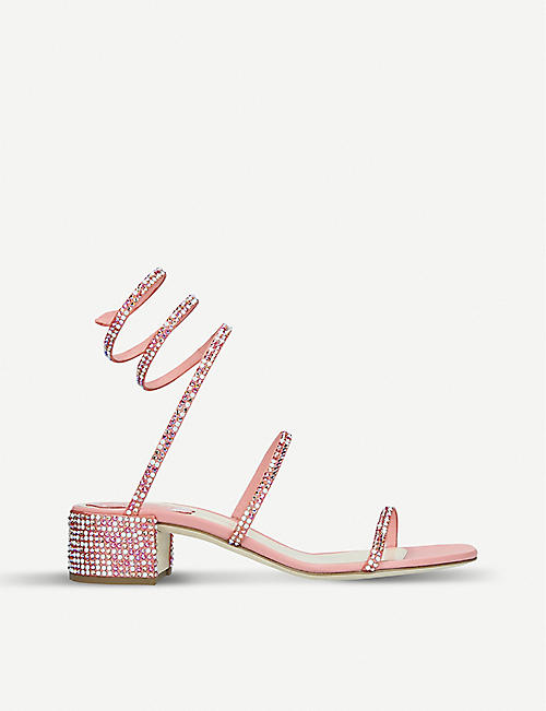 RENE CAOVILLA Cleo crystal-embellished satin sandals