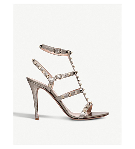 aa0a0b35ef8 VALENTINO - Rockstud 105 metallic-leather heeled gladiator sandals ...