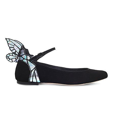 17c7339aa4b SOPHIA WEBSTER Chiara suede butterfly ballet flats (Black comb